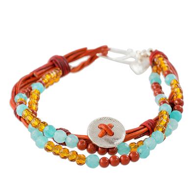Fine Silver and Jasper Beaded Bracelet from Guatemala