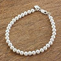 Sterling silver beaded bracelet, 'Beauty in Simplicity' - Gleaming Sterling Silver Beaded Bracelet from Guatemala