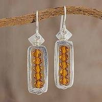 Fine silver and crystal dangle earrings, 'Beauty Without End' - Fine Silver and Crystal Dangle Earrings from Guatemala