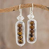 Fine silver and tiger's eye dangle earrings, 'Beauty Without End' - Fine Silver and Tiger's Eye Dangle Earrings from Guatemala