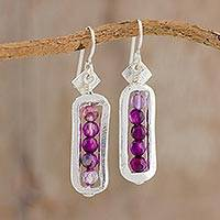 Fine silver and amethyst dangle earrings, 'Beauty Without End' - Fine Silver and Amethyst Dangle Earrings from Guatemala