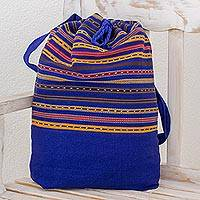 Cotton backpack, 'Expedition in Sapphire' - Striped Cotton Backpack in Sapphire from Guatemala