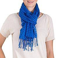 Cotton scarf, 'Caribbean Blue Net' - Guatemalan Open Net Motif Handwoven Blue Cotton Scarf