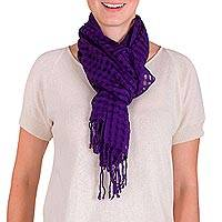 Cotton scarf, 'Imperial Purple Net' - Net Motif Handwoven Purple Cotton Scarf from Guatemala
