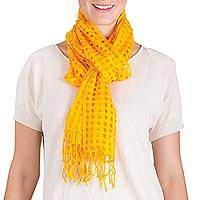 Cotton scarf, 'Saffron Yellow Net' - Guatemalan Backstrap Handwoven Saffron Yellow Cotton Scarf