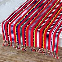 Cotton table runner, 'Villages of Guatemala' - Colorful Hand Woven Guatemalan Cotton Table Runner