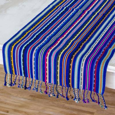 Cotton table runner, 'Colors of my Land' - Blue and Multicolored Hand Woven Cotton Table Runner