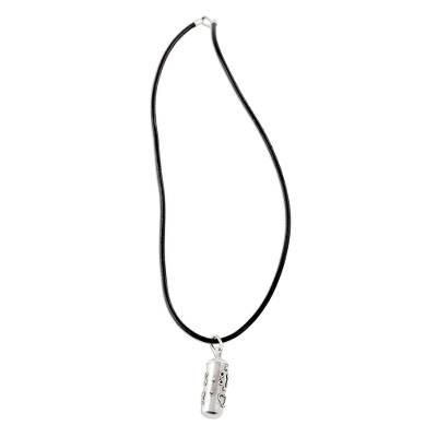 Sterling silver locket necklace, 'Capsule of Love' - Sterling Silver and Leather Locket Necklace from Guatemala
