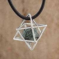 Jade pendant necklace, 'Merkaba' - Geometric Jade Pendant Necklace from Guatemala