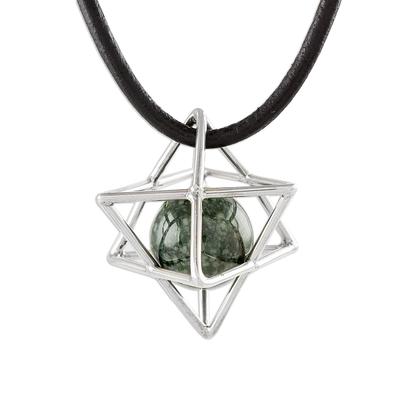 Jade pendant necklace, 'Merkaba' - Geometric Jade Pendant Necklace from Guatemala