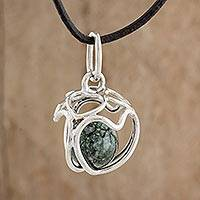 Jade pendant necklace, 'Held by Love' - Heart Motif Jade Pendant Necklace from Guatemala
