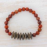 Jasper beaded stretch bracelet, 'Virtue and Beauty' - Jasper and Recycled Paper Beaded Bracelet from Guatemala
