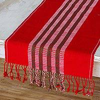 Cotton table runner, 'Festive Elegance' - Holiday Themed Fringed Cotton Table Runner in Red