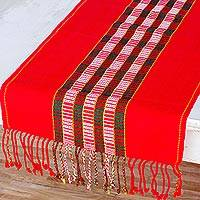 Cotton table runner, 'Festive Brilliance' - Red and Green Holiday Table Runner Woven in Cotton