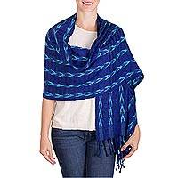 Rayon shawl, 'Changing Directions' - Shades of Blue Arrow Patterned Rayon Fringed Shawl