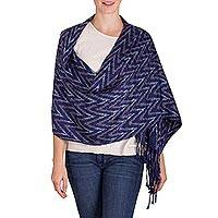 Rayon shawl, 'San Juan Sky' - Indigo and Grey Zigzag-Patterned Rayon Shawl from Guatemala