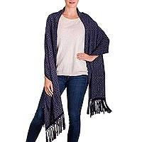 Rayon shawl, 'Navy Hills of Quetzaltenango' - Backstrap Loom Navy and White Handwoven Rayon Shawl