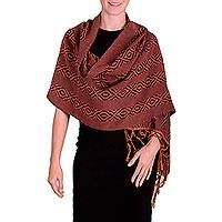 Rayon shawl, 'Orange Hills of Quetzaltenango' - Orange and Blue Backstrap Loom Handwoven Rayon Shawl