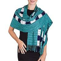 Rayon shawl, 'Pathways' - Teal Blue Rayon Fringed Shawl with Indigo and Ivory Stripes
