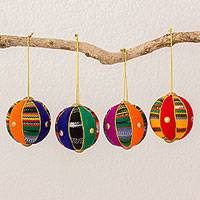 Cotton ornaments, 'Spheres of Happiness' (2.5 inch, set of 4) - Four Colorful Cotton Ornaments (2.5 in.) from Guatemala