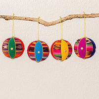 Cotton ornaments, 'Spheres of Happiness' (3 inch, set of 4) - Four Colorful Cotton Ornaments (3 in.) from Guatemala