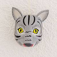 Wood mask, 'Happy Cat' - Handcrafted Pinewood Mask of a Cat from Guatemala