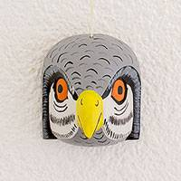 Wood mask, 'Grey Owl' - Handcrafted Pinewood Mask of an Owl from Guatemala