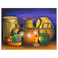 'Still Life' - Guatemalan Still Life Painting in Oils of Folk Art Objects