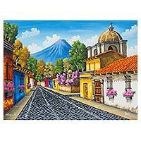 'Colonial Street' - Colorful Oil Painting of the Guatemalan City of Antigua