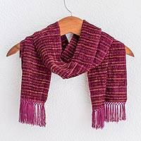Rayon chenille scarf, 'Mulberry Love' - Handwoven Striped Purple and Brown Rayon Chenille Scarf