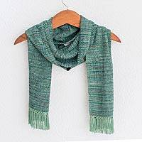Rayon chenille scarf, 'Sage Green Love' - Green and Purple Handwoven Striped Rayon Chenille Scarf