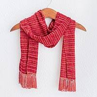 Rayon chenille scarf, 'Aurora Red Love' - Red and Tangerine Rayon Chenille Scarf Woven in Guatemala