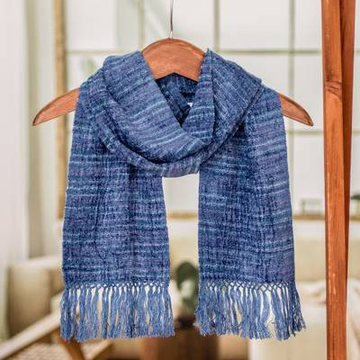 Rayon scarf, 'Pacific Love' - Pacific Blue Purple Stripes Handwoven Rayon Scarf