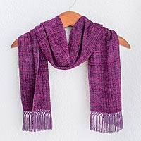Rayon chenille scarf, 'Boysenberry Love' - Grape and Berry Handwoven Scarf with Ruby Red