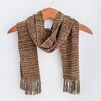 Rayon chenille scarf, 'Chestnut Love' - Multicolored Brown and Yellow Rayon Chenille Scarf