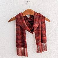 Rayon chenille scarf, 'Russet Love' - Backstrap Handwoven Rayon Chenille Scarf in Warm Colors