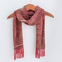 Rayon chenille scarf, 'Strawberry Love' - Rayon Chenille Handwoven Striped Scarf in Reds and Blues