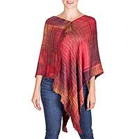 Rayon poncho, 'Beautiful Flame' - Hand Woven Rayon Poncho from Guatemala
