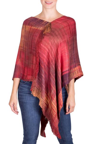 Hand Woven Rayon Poncho from Guatemala
