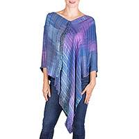 Rayon poncho, 'Beautiful Horizon' - Blue and Purple Rayon Poncho from Guatemala