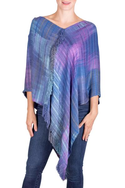 Blue and Purple Rayon Poncho from Guatemala