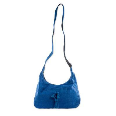 Handwoven Cotton Hobo Bag in Azure from Guatemala