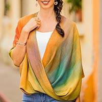 Rayon poncho, 'Autumnal Charm' - Asymmetrical Hand Woven Rayon Poncho from Guatemala