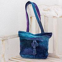 Rayon and cotton blend shoulder bag, 'Pleasing Corduroy in Blue' - Rayon and Cotton Blend Shoulder Bag in Blue from Guatemala