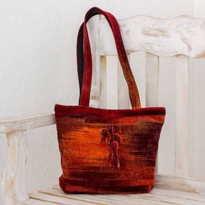 Rayon and cotton blend shoulder bag, 'Pleasing Corduroy in Red' - Rayon and Cotton Blend Shoulder Bag in Red from Guatemala