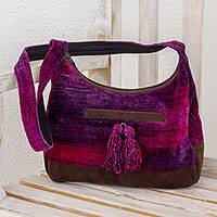 Rayon and cotton blend hobo bag, 'Magical Day' - Rayon and Cotton Blend Hobo Bag in Purple from Guatemala