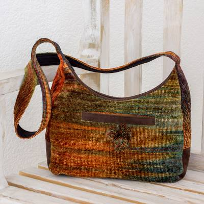 Rayon and cotton blend handbag, 'Autumn Day' - Hand Dyed and Loomed Hobo Style Handbag in Autumn Colors