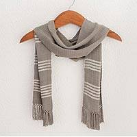 Rayon scarf, 'Mystic Maya Fog' - Handwoven Taupe Rayon Fiber Scarf with White Accents