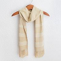 Rayon scarf, 'Mystic Maya Buttercups' - Handwoven Rayon Fiber Buttercup Yellow and White Scarf