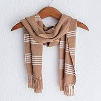 Rayon scarf, 'Mystic Maya Earth' - Backstrap Loom Handwoven Golden Brown Rayon Scarf